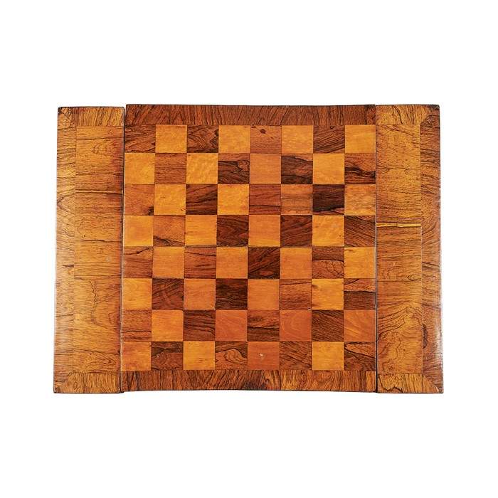 A William IV rosewood, satinwood and bird's-eye maple parquetry games table - Image 2 of 14