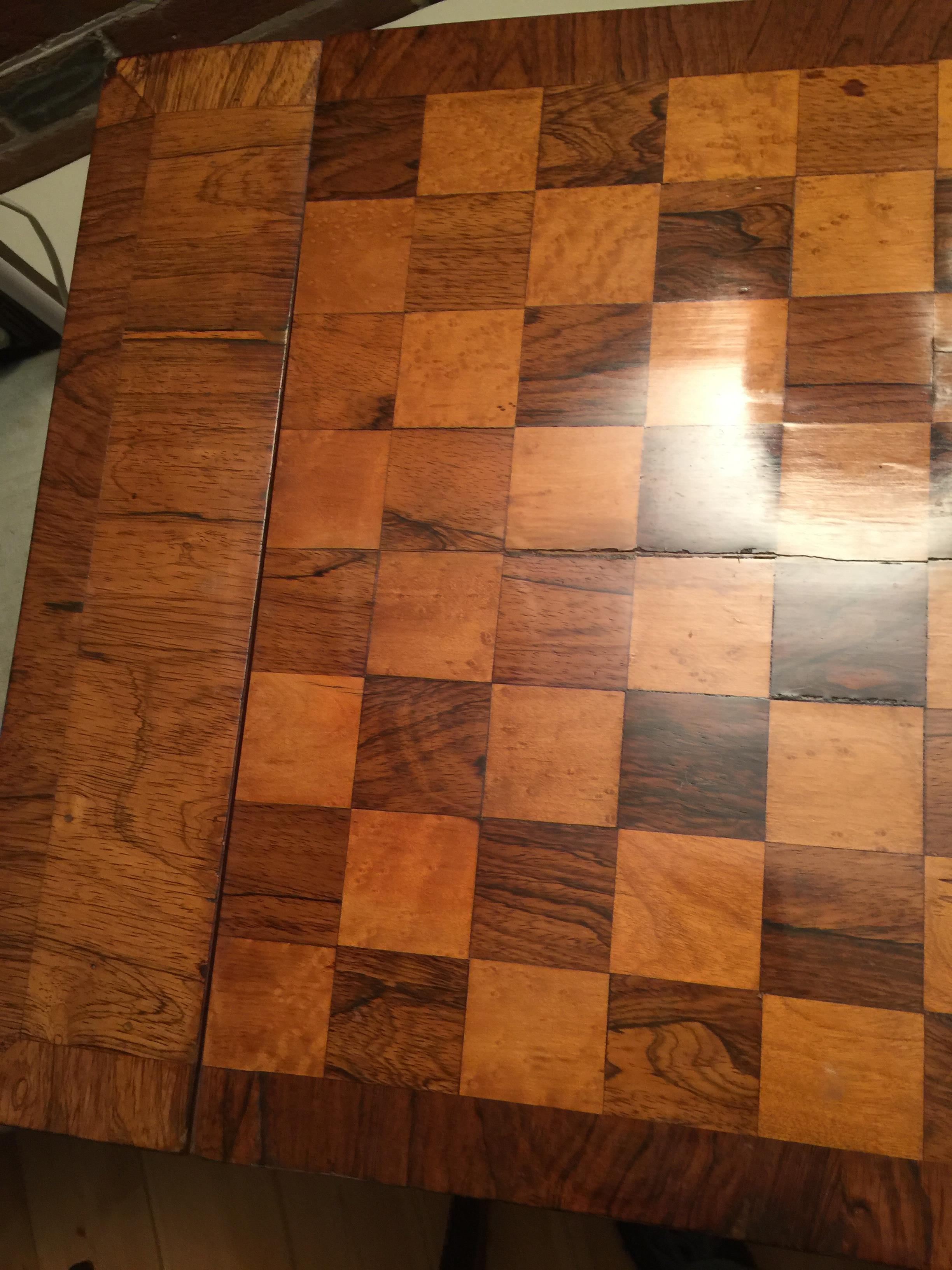 A William IV rosewood, satinwood and bird's-eye maple parquetry games table - Image 6 of 14