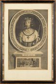 A set of ten framed engravings depicting Kings, early 20th century