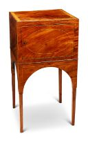 A George III mahogany and satinwood banded pot cupboard