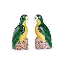 A pair of Chinese- Export green and yellow glazed pottery parrots