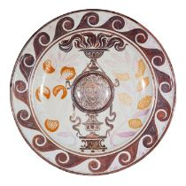 A monumental Victorian Arts & Crafts lustre wall charger by Maw & Co, Broseley