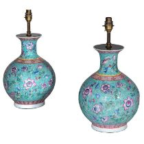 A pair of Chinese-Export famille rose vases converted to table lamps
