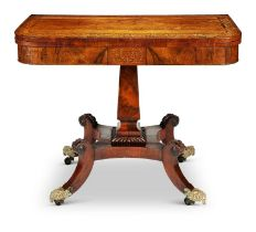 A Regency rosewood and sycamore marquetry tea table