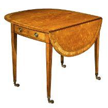 A Regency satinwood and tulipwood crossbanded pembroke table