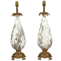 A pair of 20th century Italian white glass and gilt metal mounted table lamps