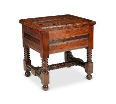 A William and Mary oak box stool