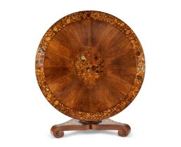 A Victorian walnut, sycamore and floral marquetry centre table