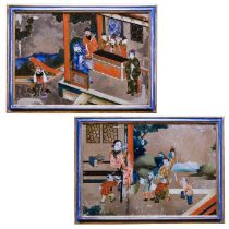 A pair of late 19th century/early 20th century Chinese-Export reverse glass mirror paintings