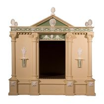 A neo-classical style cream, green and white painted dog kennel