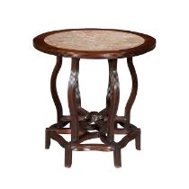 A late 19th century Chinese Export hongmu reeded occasional table
