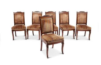 A set of six Empire carved mahogany chaises