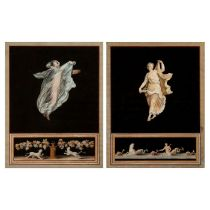 A pair of early 19th century gouache paintings over etchings attributed to Maestri