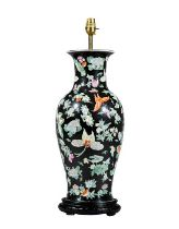 A Chinese-Export famille noir porcelain vase converted to a table lamp