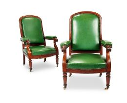 A pair of Louis Phillipe carved mahogany fauteuils by Jeanselme & fils