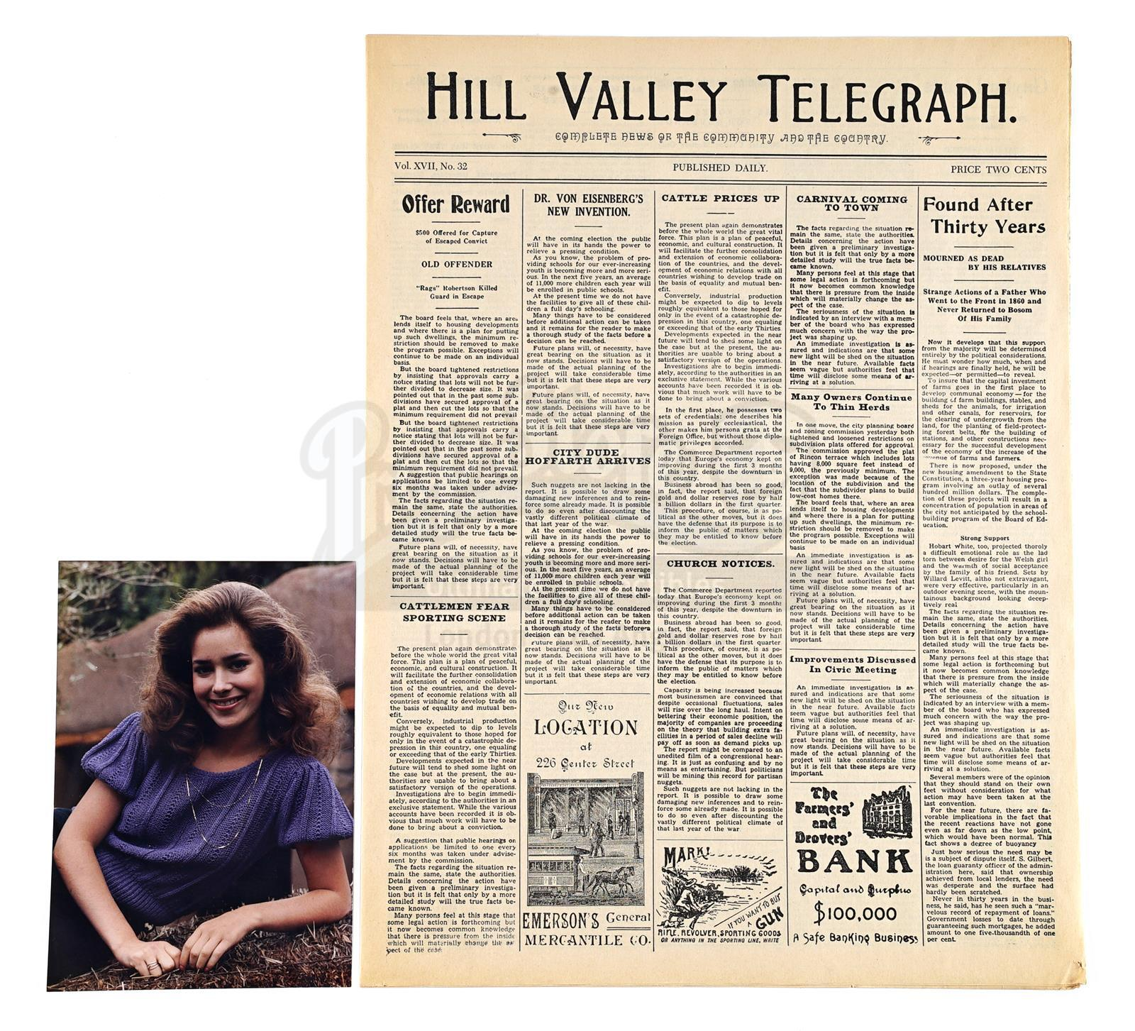 Lot # 493: BACK TO THE FUTURE PART III - Hill Valley Telegraph Newspaper and Claudia Wells Productio