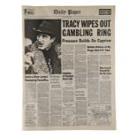 """Lot # 617: DICK TRACY - """"Tracy Wipes Out Gambling Ring"""" Newspaper"""