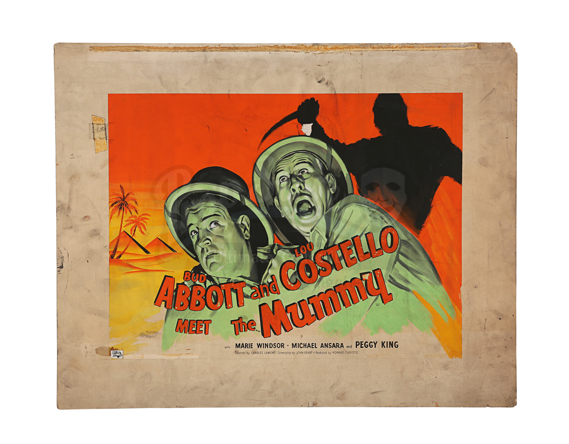 Lot # 449: ABBOTT AND COSTELLO MEET THE MUMMY - Hand-painted British Quad Poster Concept Artwork