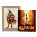 Lot # 589: CONAN THE BARBARIAN - Ron Cobb-Designed Thulsa Doom and Title Card Concept Boards