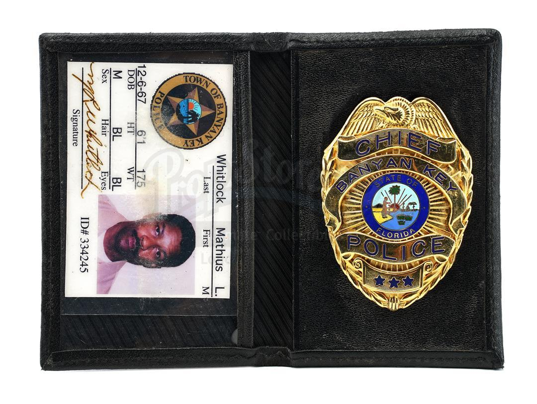Lot # 945: OUT OF TIME - Mathius Whitlock's (Denzel Washington) Police Badge and Credentials