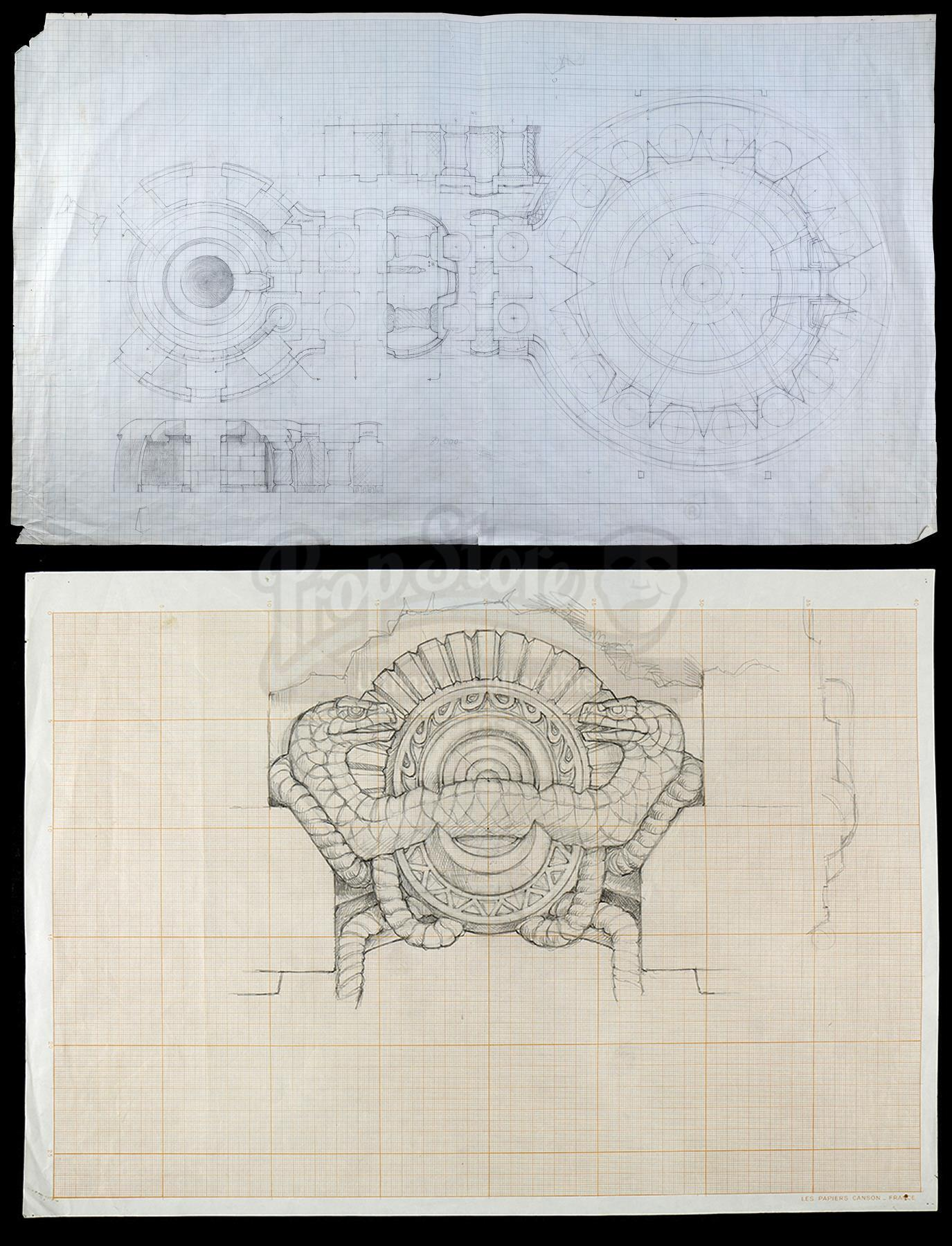 Lot # 588: CONAN THE BARBARIAN - Hand-Drawn Ron Cobb Temple of Set Concept Sketches