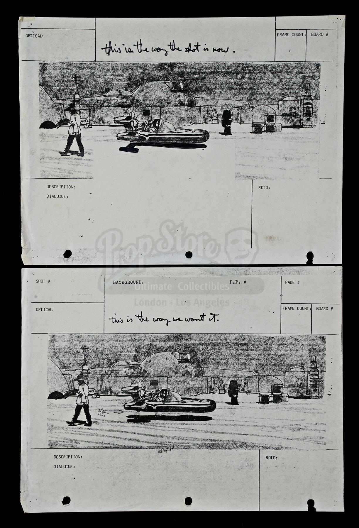 Lot # 283: STAR WARS - EP IV - A NEW HOPE - Production-Used Storyboards with George Lucas' Handwritt