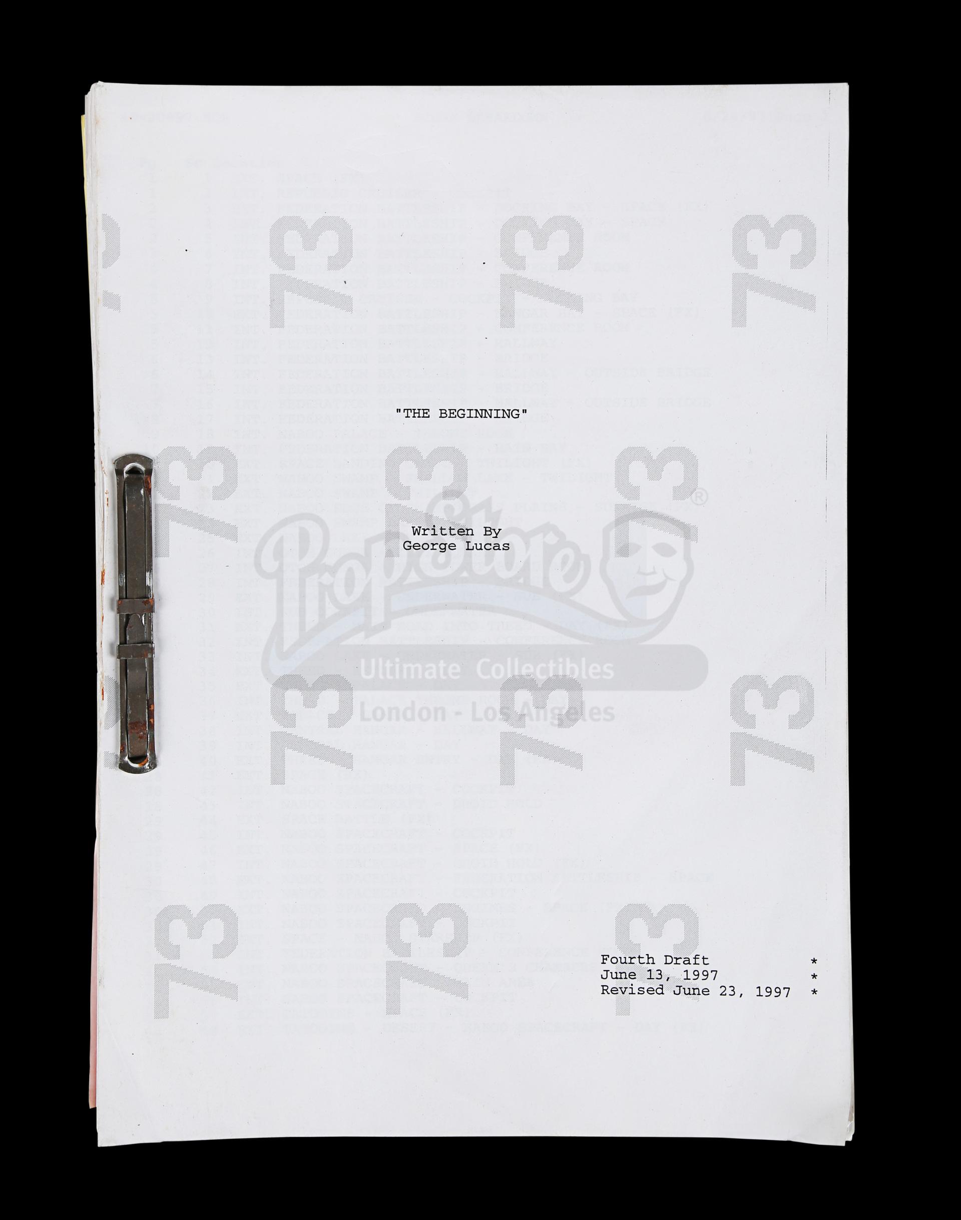 Lot # 1122: STAR WARS - EP I - THE PHANTOM MENACE - Revised Fourth Draft Script
