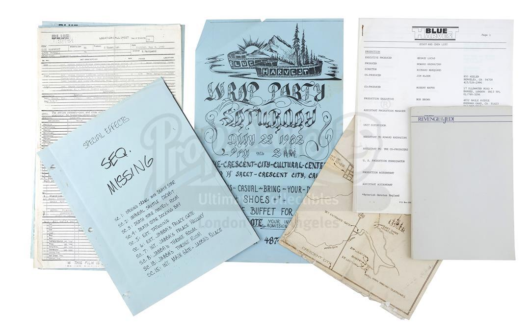 Lot # 1193: STAR WARS - EP VI - RETURN OF THE JEDI - Production Paperwork, Wrap Party Invitation, an