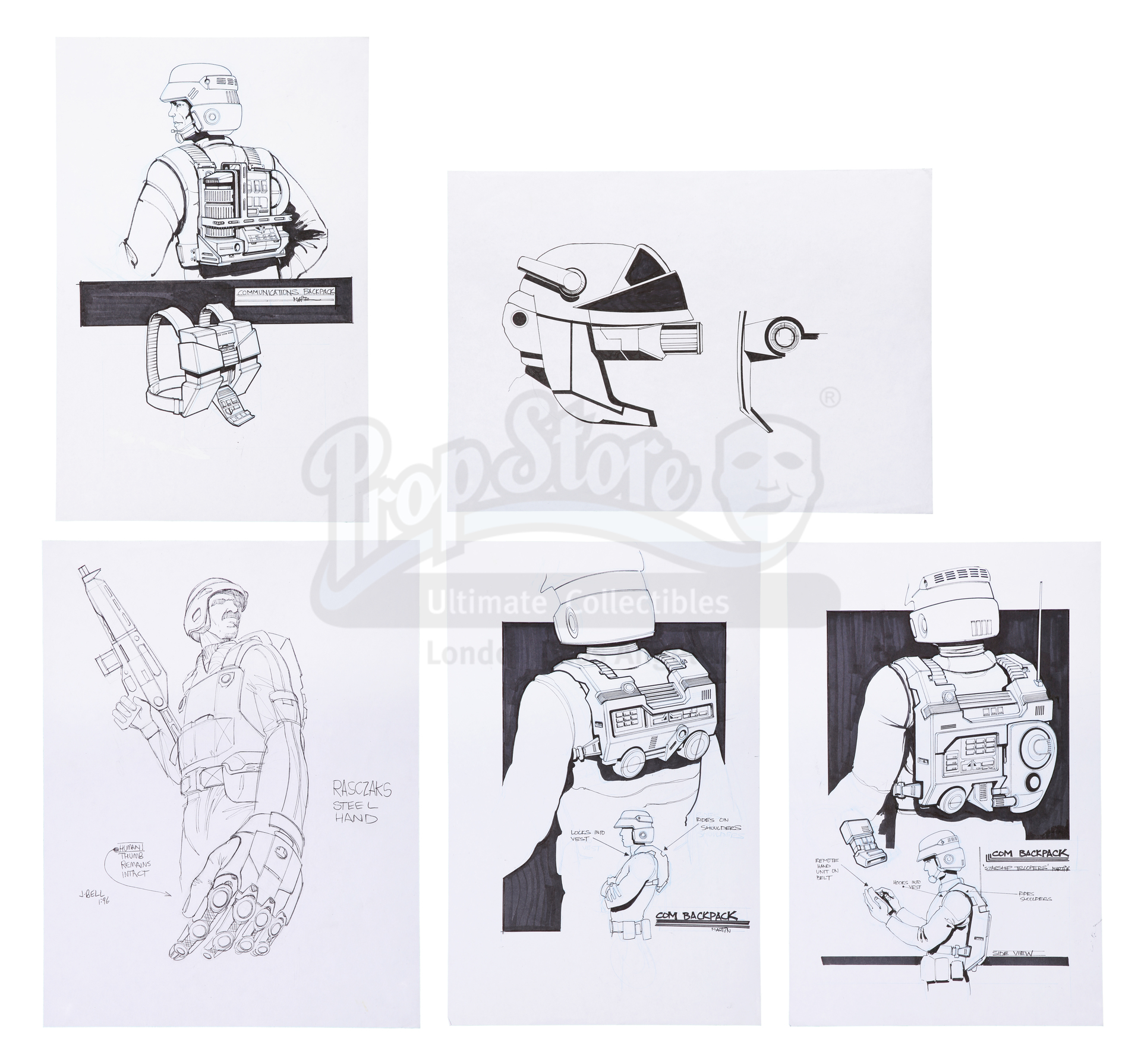 Lot # 1249: STARSHIP TROOPERS - Collection of Hand-Drawn Concept Artwork for Mobile Infantry Trooper