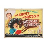 Lot # 448: ABBOTT AND COSTELLO: MEXICAN HAYRIDE - Hand-painted U.K. Quad Poster Concept Artwork