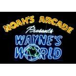 "Lot # 418: WAYNE'S WORLD (1992) - ""Noah's Arcade Presents: Wayne's World"" Neon Sign"