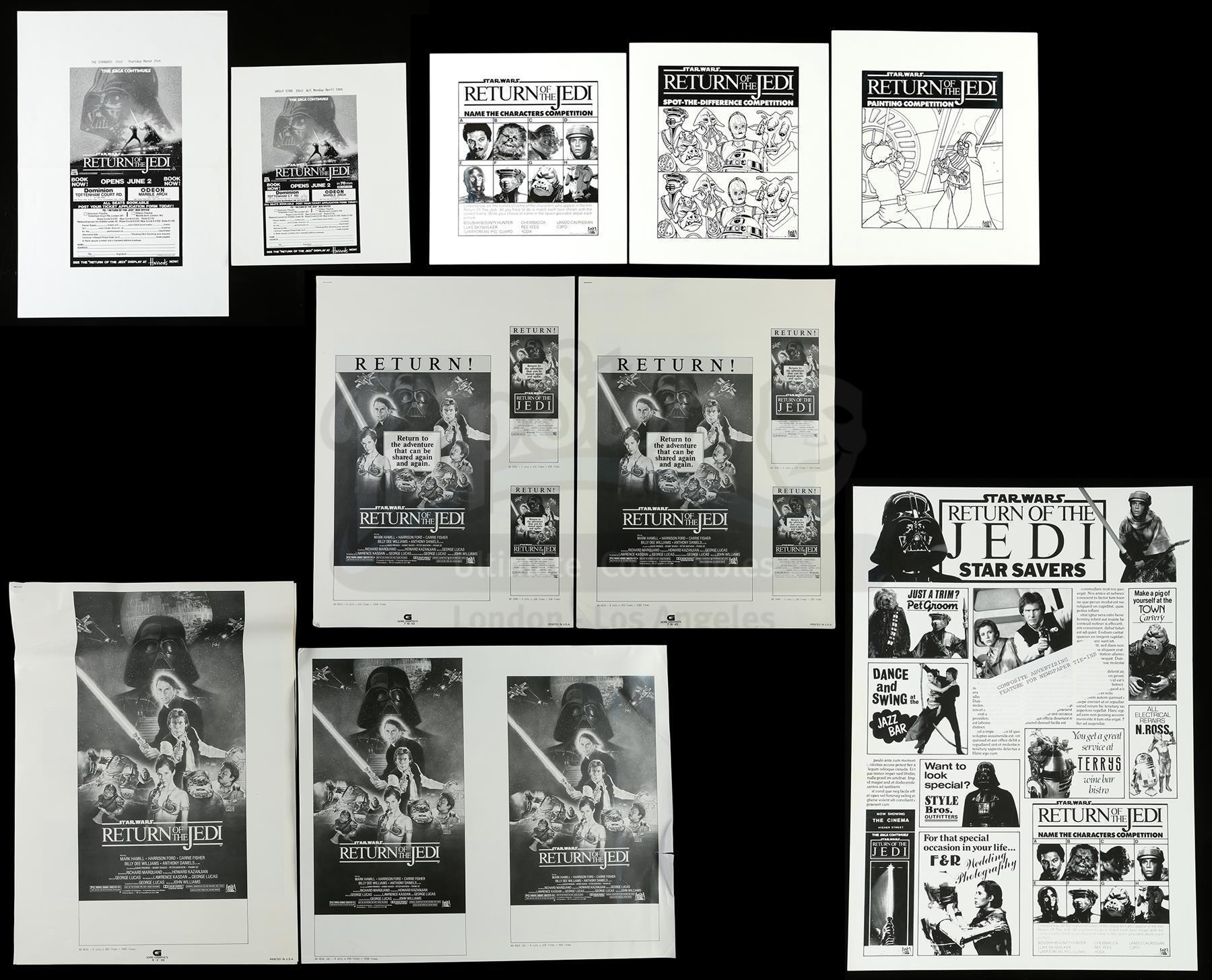 Lot # 1215: STAR WARS - EP VI - RETURN OF THE JEDI - Set of Ad Slicks and Promo Proofs