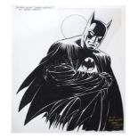 Lot # 31: BATMAN - Hand-Drawn and Signed Jerry Ordway Comic Book Adaptation Display Artwork