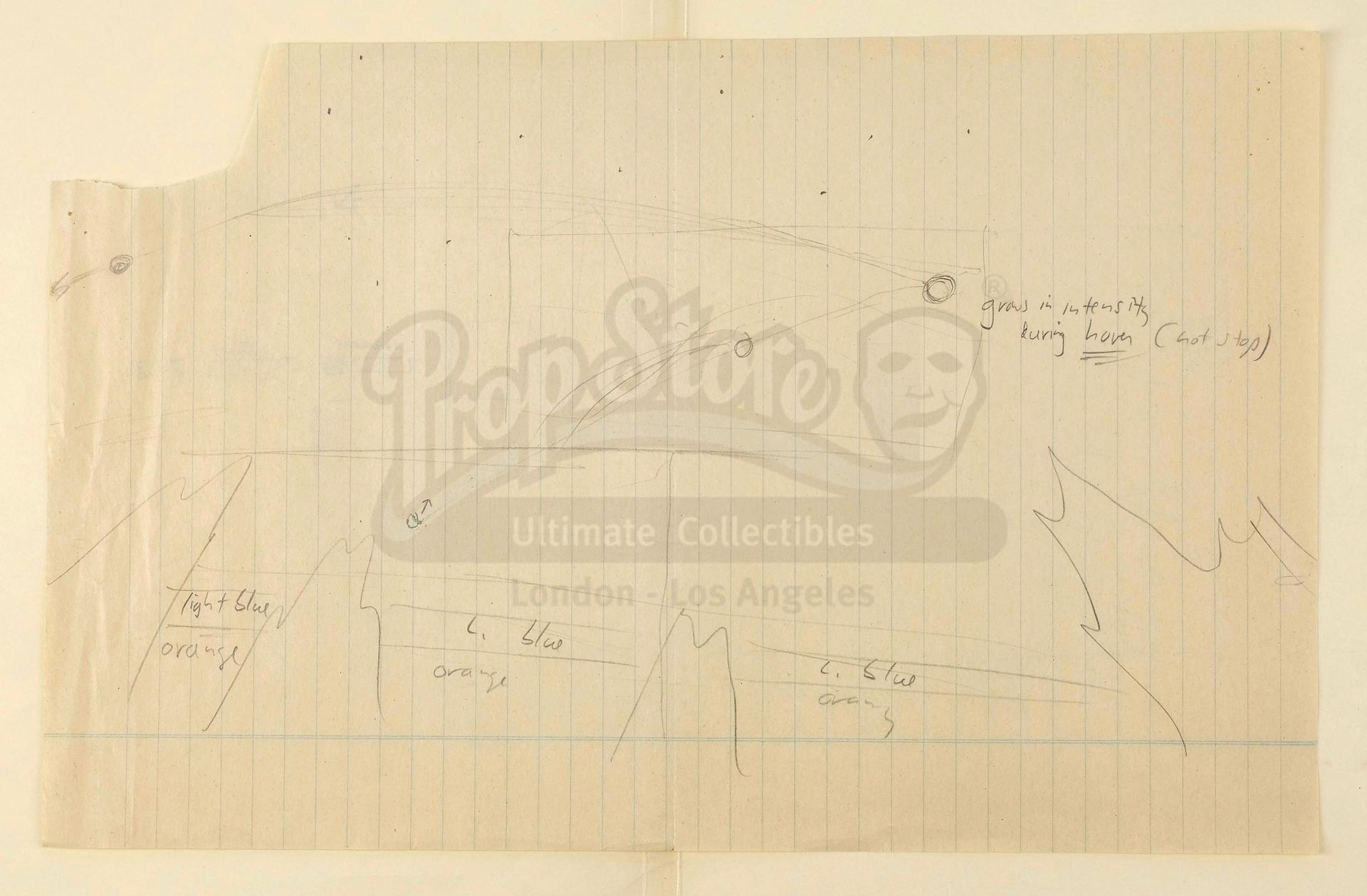 Lot # 67: E.T. THE EXTRA-TERRESTRIAL - Hand-Drawn Steven Spielberg VFX Shot Concept Sketch