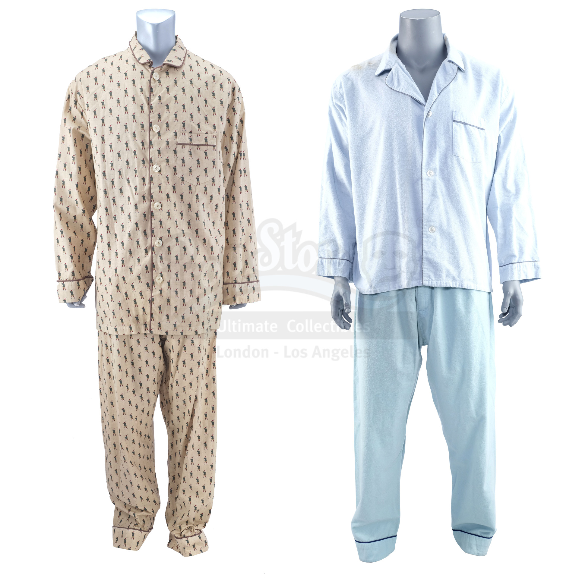 Lot # 596: CONEHEADS - Beldar's (Dan Aykroyd) Blue and Tan Pajamas