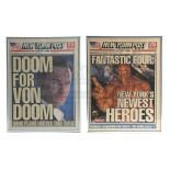 Lot # 659: FANTASTIC FOUR - Pair of Framed Newspaper Covers