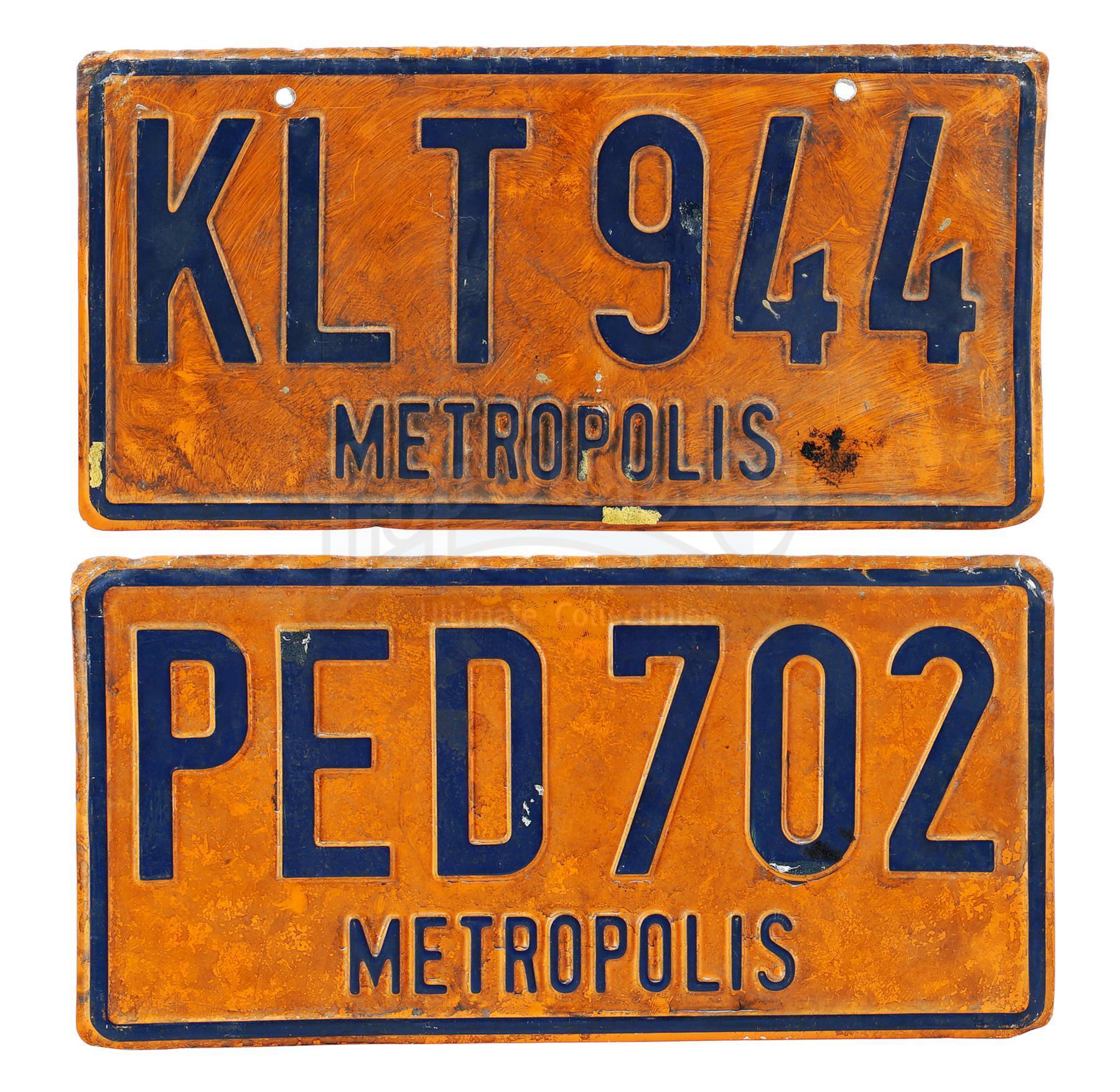Lot # 362: SUPERMAN II - Pair of Metropolis License Plates