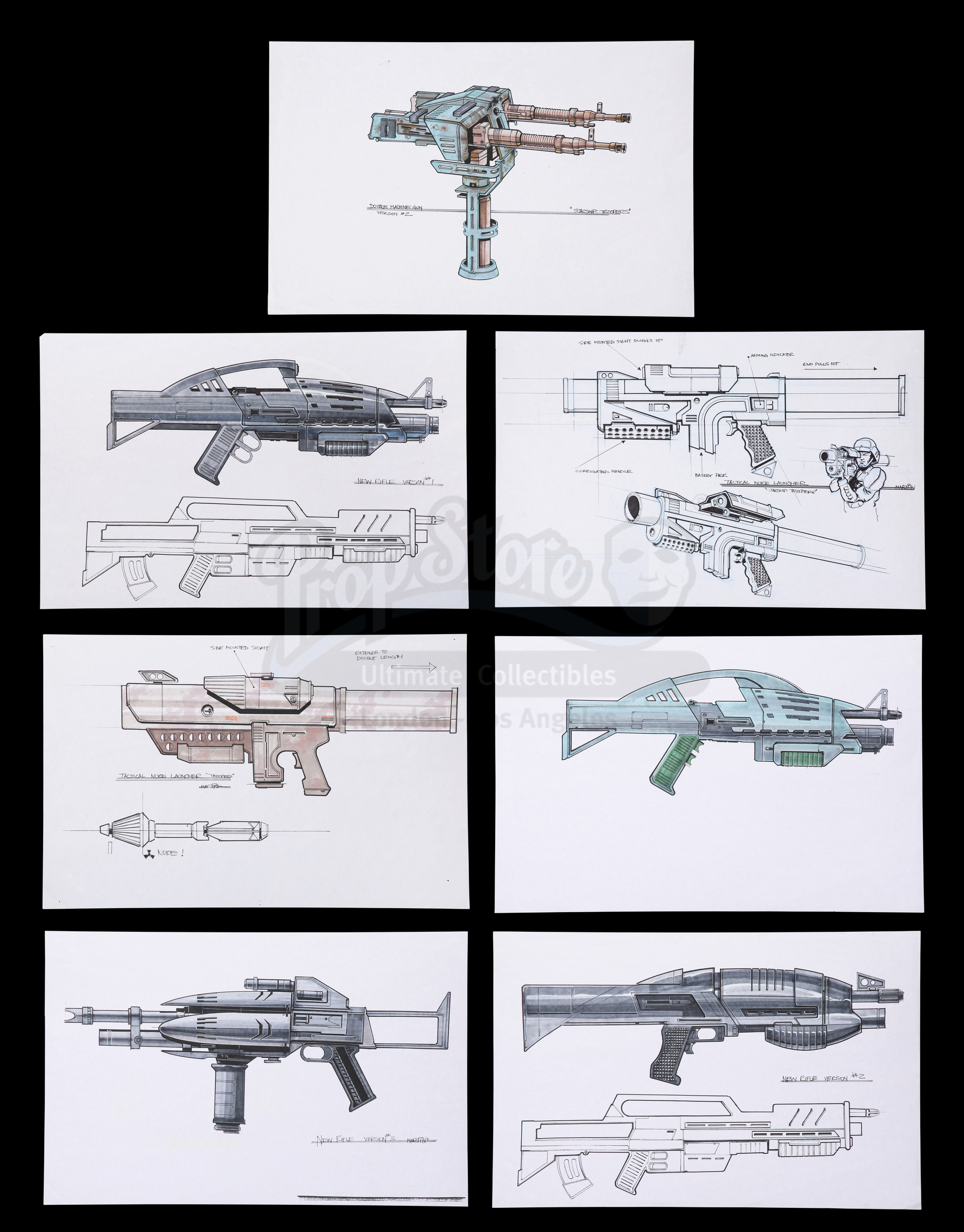 Lot # 1248: STARSHIP TROOPERS - Collection Of Hand-Painted and Hand-Drawn Concepts for Weapons