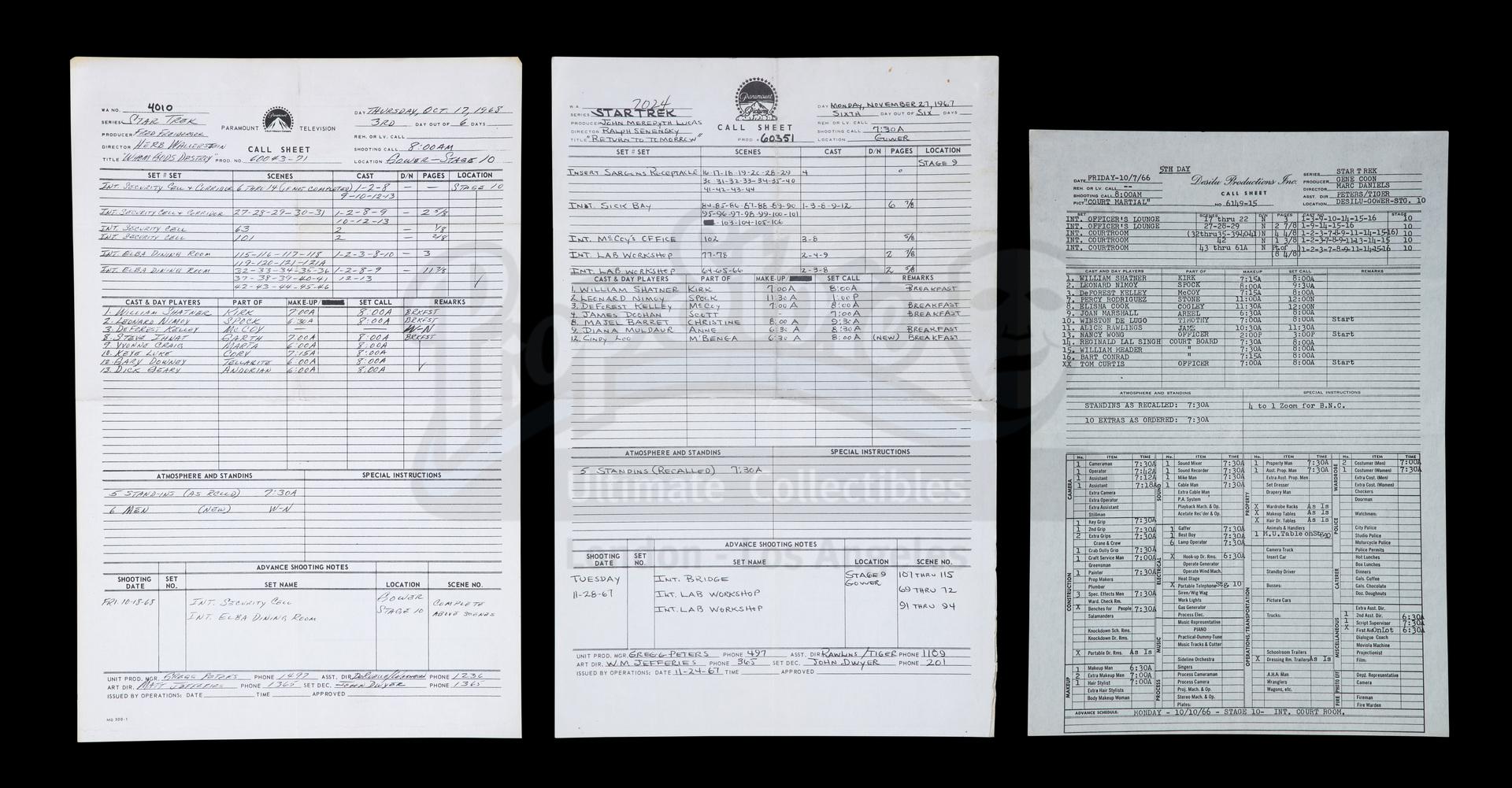 Lot # 1051: STAR TREK: THE ORIGINAL SERIES - Set of Three Call Sheets