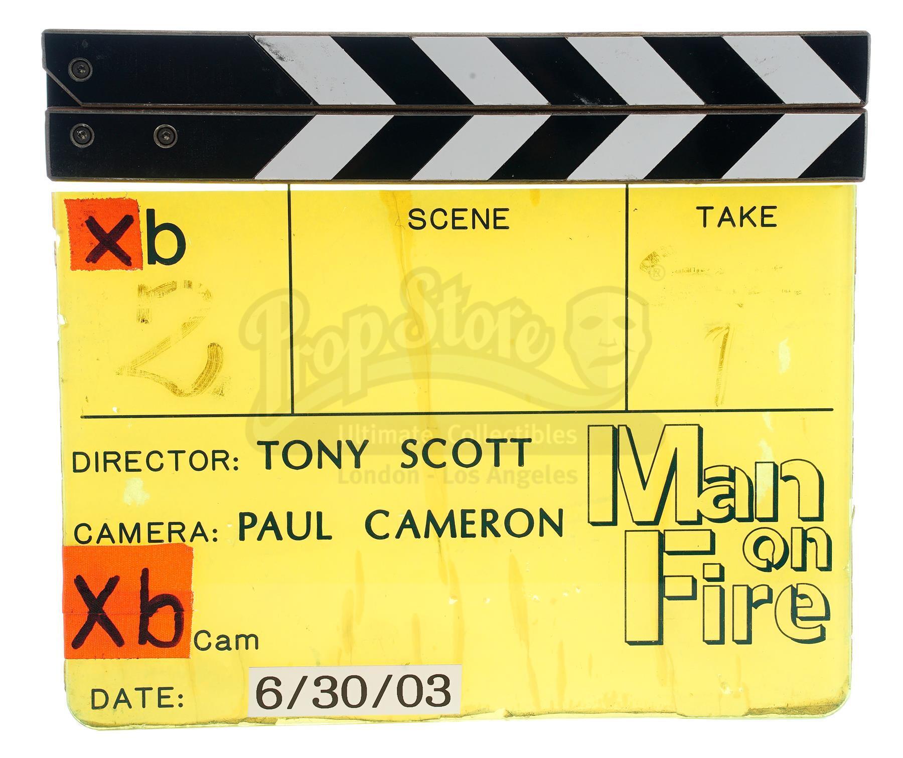 "Lot # 858: MAN ON FIRE - ""B"" Camera Clapperboard"