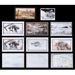 Lot # 1250: STARSHIP TROOPERS - Hand-Painted and Hand-Drawn Concepts For Battle Station and Alien La