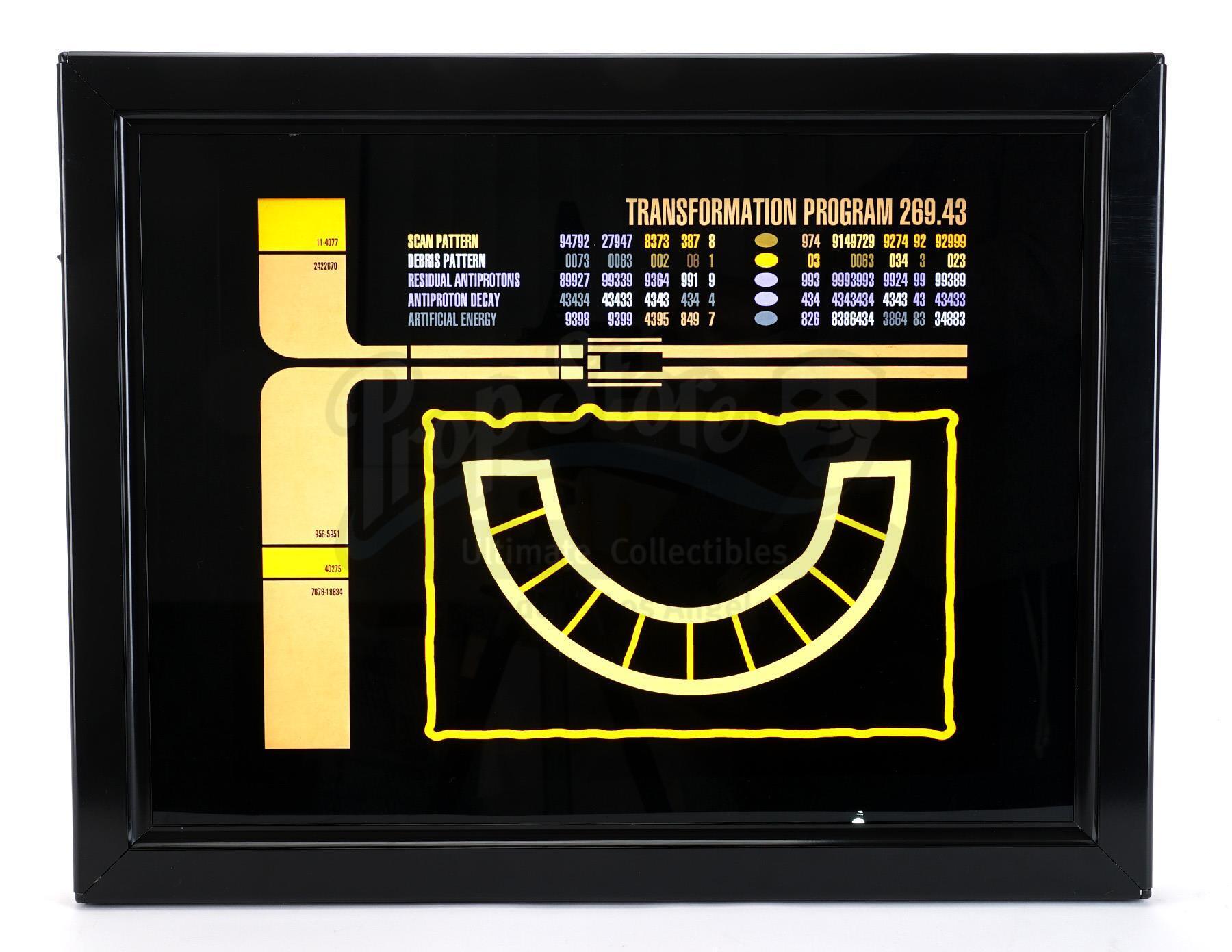 Lot # 1064: STAR TREK: THE NEXT GENERATION - Framed Light-Up Transformation Program LCARS Panel