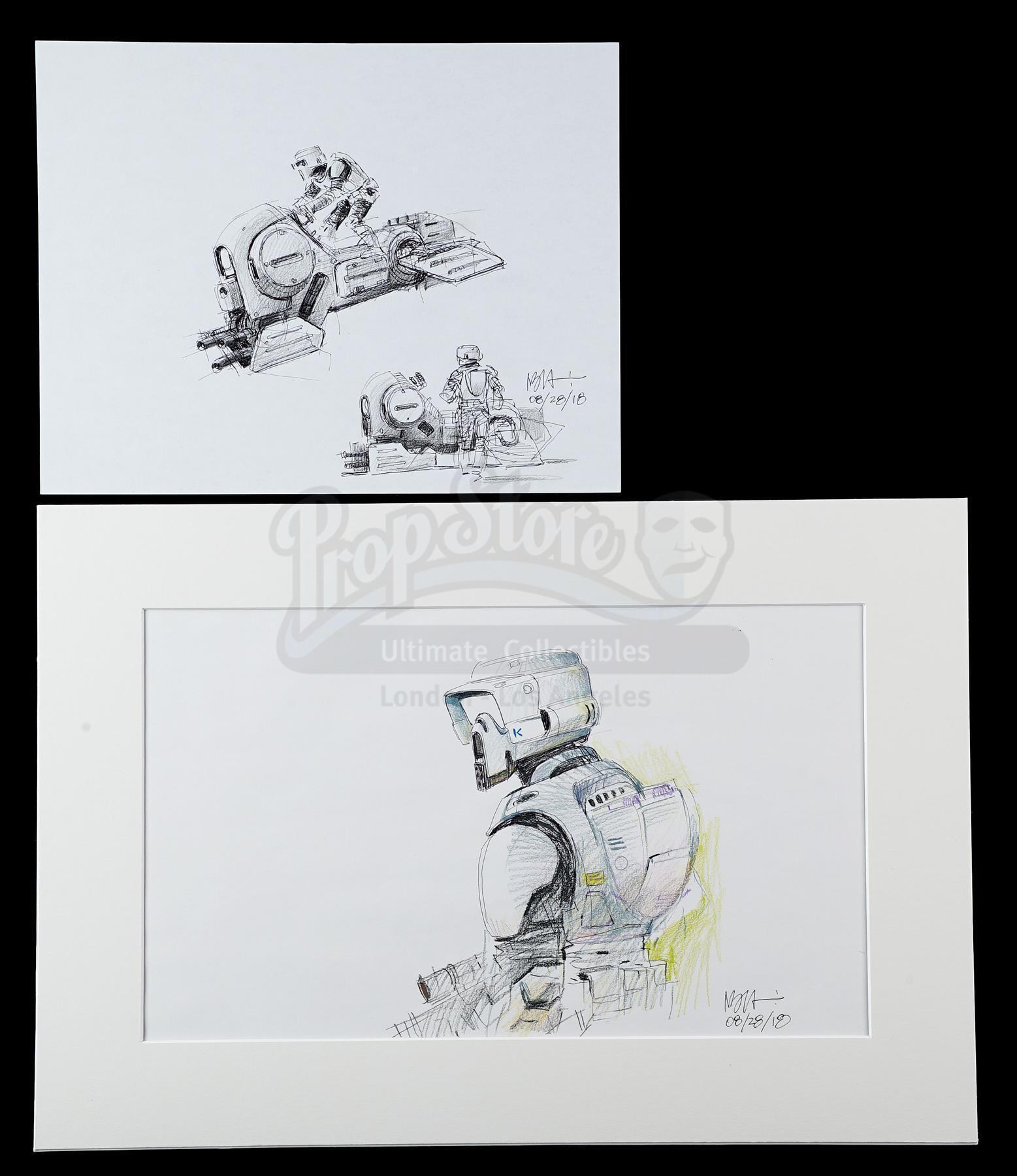 Lot # 1186: STAR WARS - EP VI - RETURN OF THE JEDI - Alternate Speeder Bike and Biker Scout Sketches