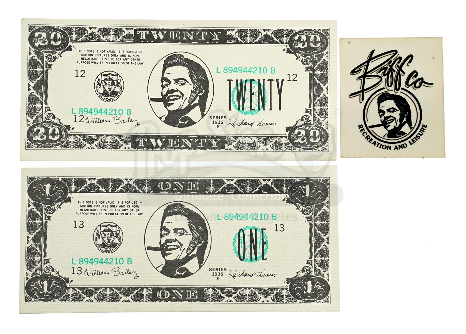 Lot # 491: BACK TO THE FUTURE PART II - Two Biffco Currency Notes and Biffco Sticker