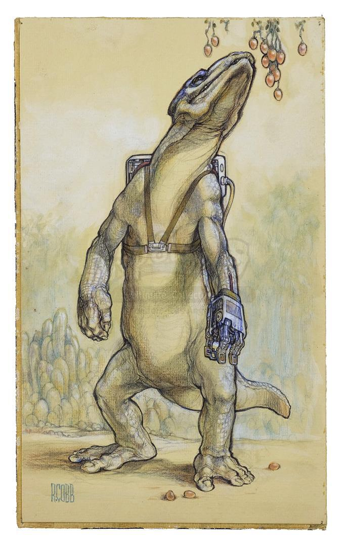 Lot # 282: STAR WARS - EP IV - A NEW HOPE - Hand-Drawn Ron Cobb Amputee Lizard Illustration