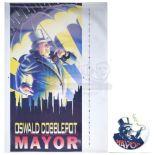Lot # 505: BATMAN RETURNS - Oswald Cobblepot (Danny DeVito) Campaign Poster and Button
