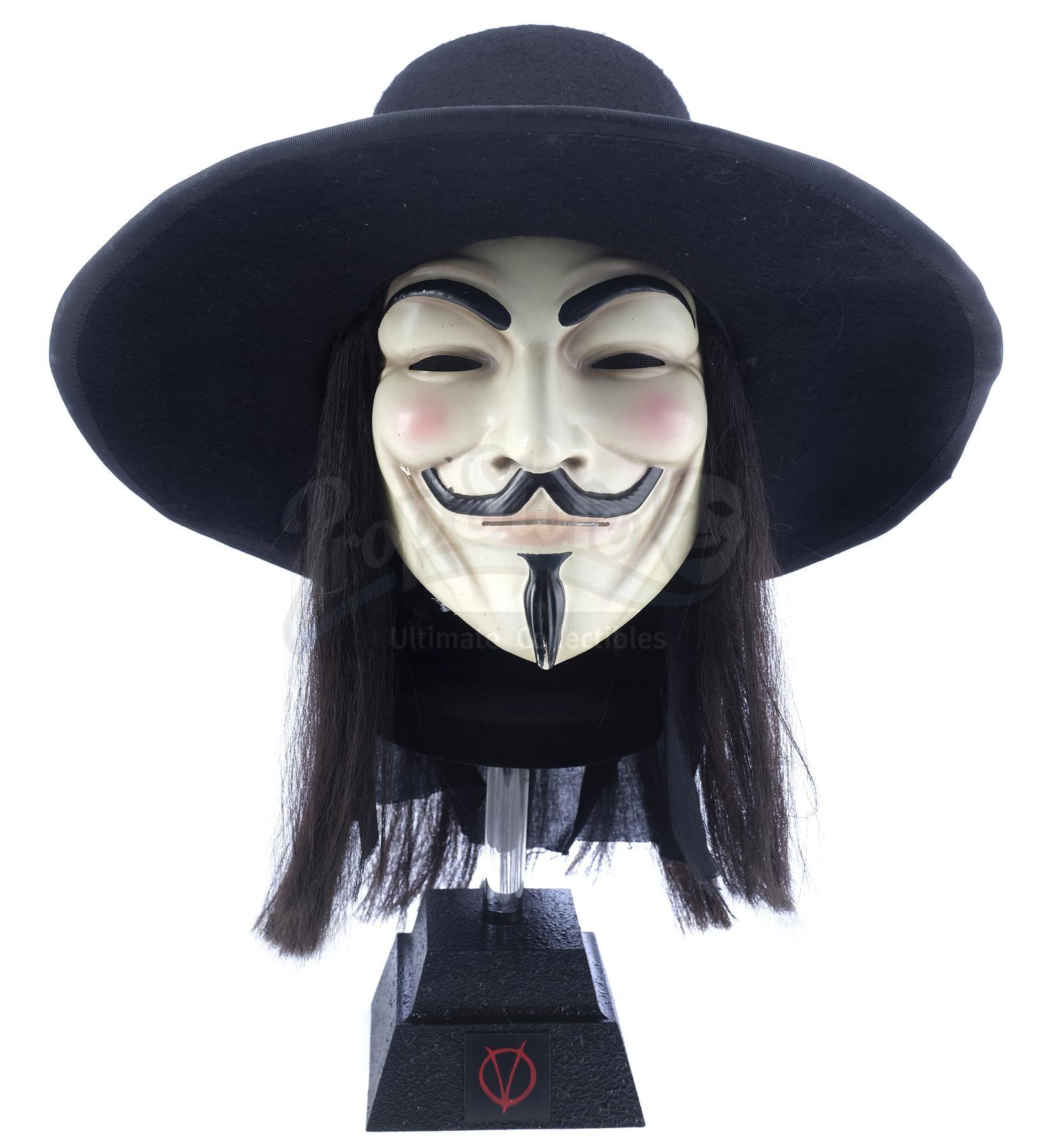 Lot # 403: V FOR VENDETTA - Crowd Member's V Mask, Hat, and Wig