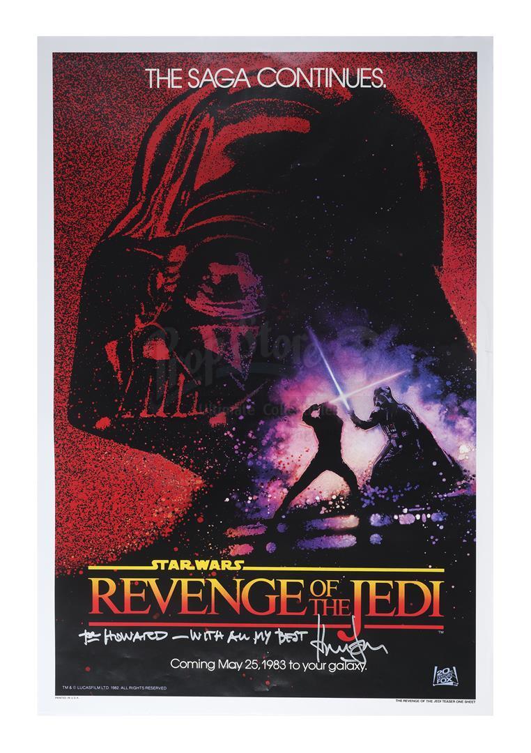 "Lot # 1188: STAR WARS - EP VI - RETURN OF THE JEDI - Harrison Ford-Signed ""Revenge of the Jedi"" Teas"