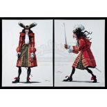 Lot # 119: HOOK - Pair of Hand-Drawn and Colored Style Guide Sketches of Captain Hook by John Bell