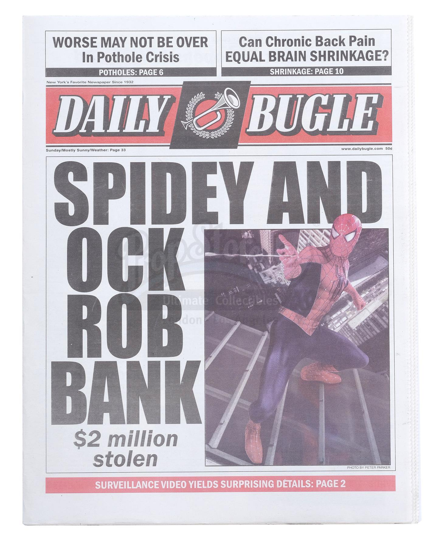 """Lot # 1046: SPIDER-MAN 2 - """"Spidey and Ock Rob Bank"""" Daily Bugle Full Newspaper"""